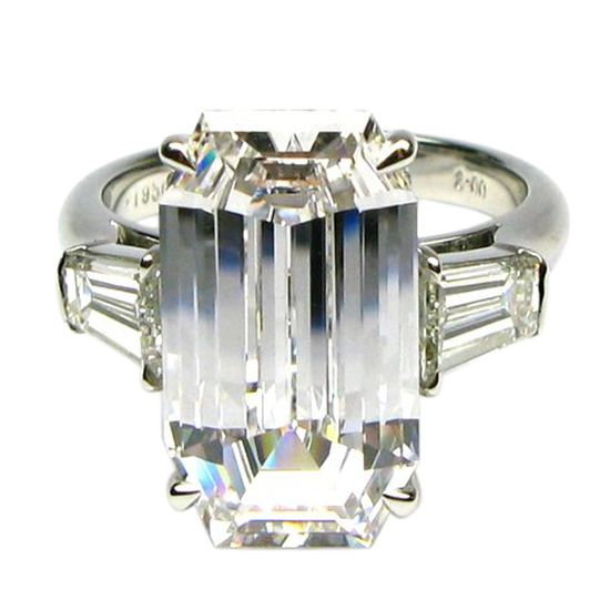 J. BIRNBACH 7 Carat Just a Touch of Pink Emerald Cut Ring // 1stdibs