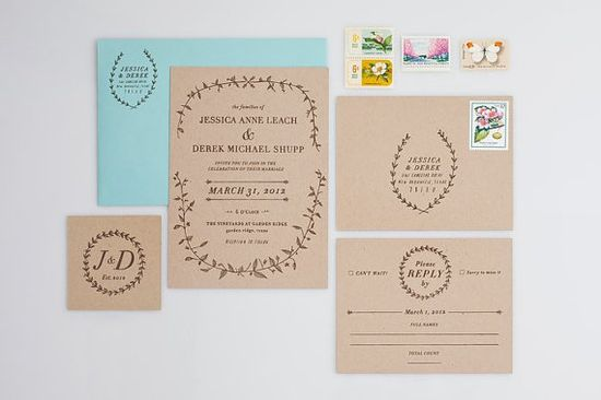 Woodland Hand Drawn Rustic Wedding Invitation Suite.  via Etsy.