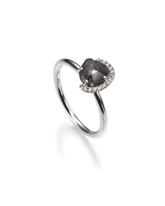 Go edgier with a Champagne Bubble Black Rough diamond ring.
