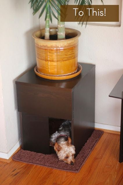 How to turn a nightstand into a dog house! #diy #pets #dogs #diy