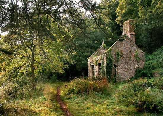 What remains of a long abandoned home in the English countryside.