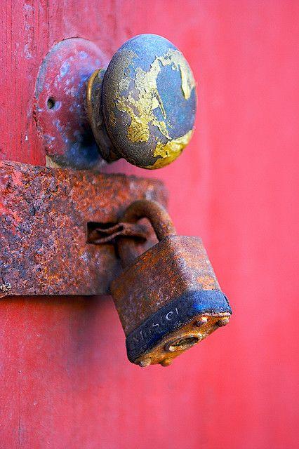 pink door with old lock