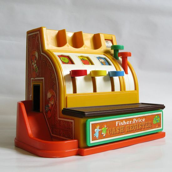 Vintage Fisher Price Toy Cash Register see this is why I play store!