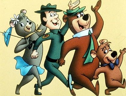 """Yogi Bear cartoon with Boo-Boo and the rest of the gang. Hanna Barbera cartoon character's from """"The Huckleberry Hound Show"""". 1958"""