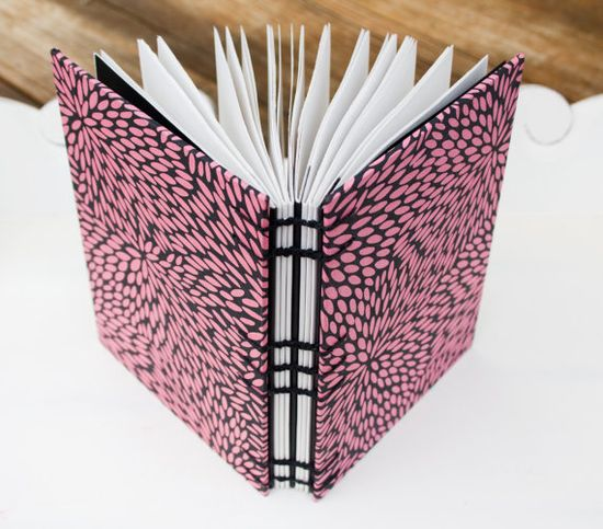 Precious Handmade Journals on Etsy!!  Pink and Black Handmade Coptic Stitch Journal by Lisa Meehan