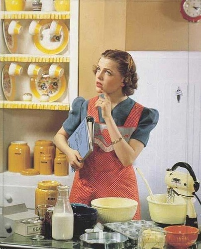 Pondering the daily question of what to whip up for your hungry family. #vintage #woman #homemaker #housewife #kitchen #baking #vintage  #food #retro