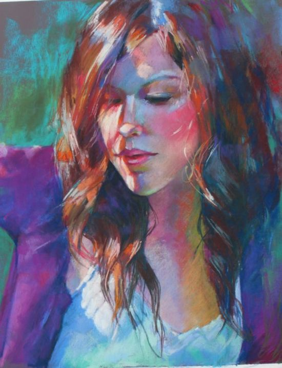 Colorful Custom Pastel Portrait Sample Reflections by Krystyna81, $750.00