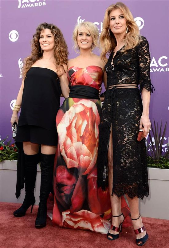 Singers Shania Twain, Carrie Underwood, and Faith Hill arrive at the ceremony. (Photo: Frazer Harrison/acma2013 / Getty Images Contributor) #ACMs