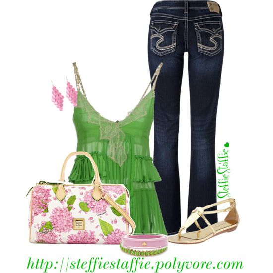 Green Ruffled Cami, created by steffiestaffie on Polyvore