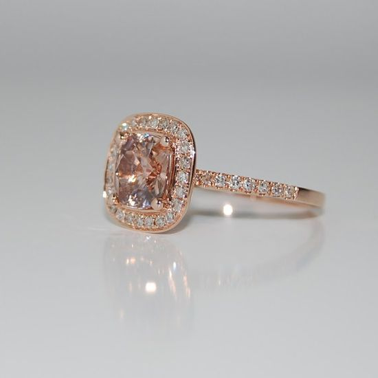 2ct Cushion peach champagne sapphire in 14k rose gold diamond ring