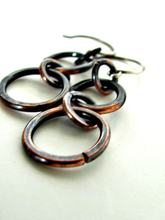 Antiqued Double Small Hoop Earrings by stephaniedistler on Etsy, $18.00