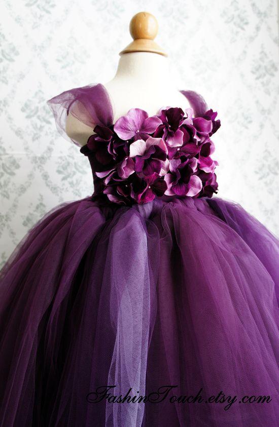 Flower girl dress Deep Purple and Lavender tutu dress, flower top, hydrangea top, toddler tutu dress. $70.00, via Etsy.