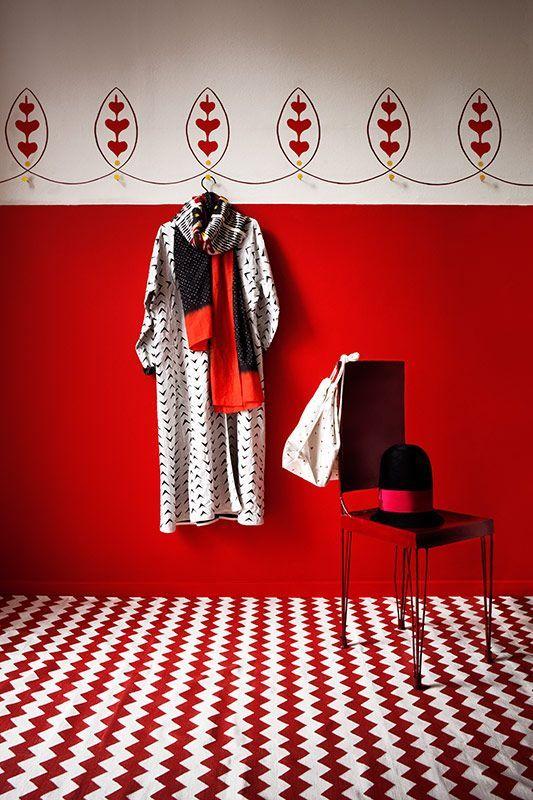 Red Zig Zag floors         #floor #design