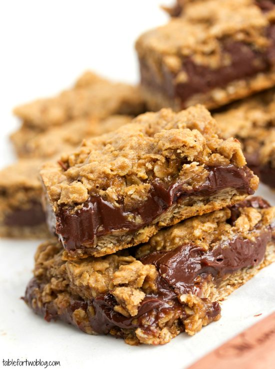 Oatmeal & Chocolate Cookie Bars from www.tablefortwobl...
