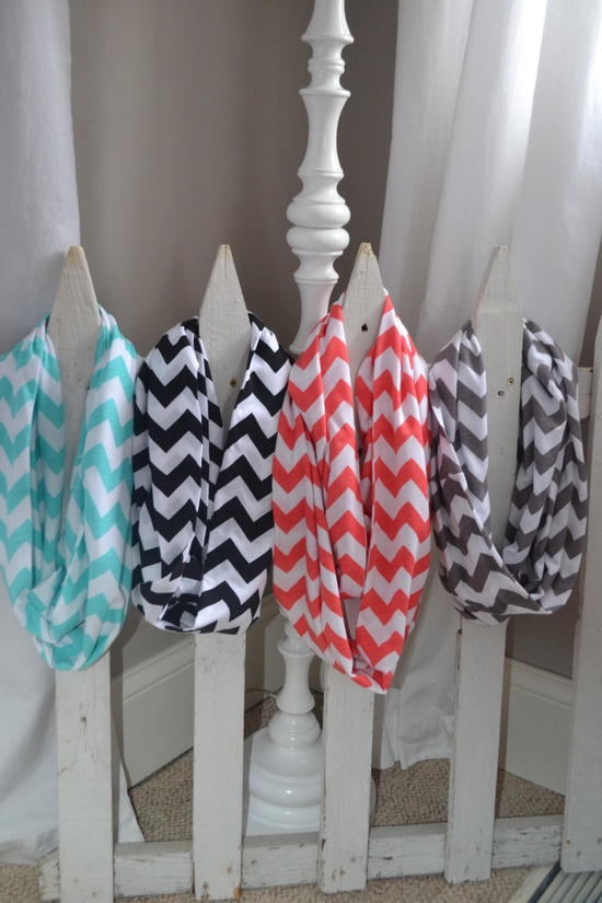Chevron Infinity Jersey Knit Scarves Coral,Black,Aqua,and Grey. $15.00, via Etsy..... cute love it...LOVE LOVE LOVE