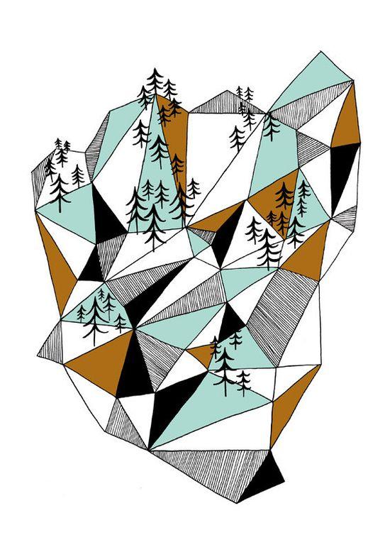 Geometric mountain print par depeapa sur Etsy