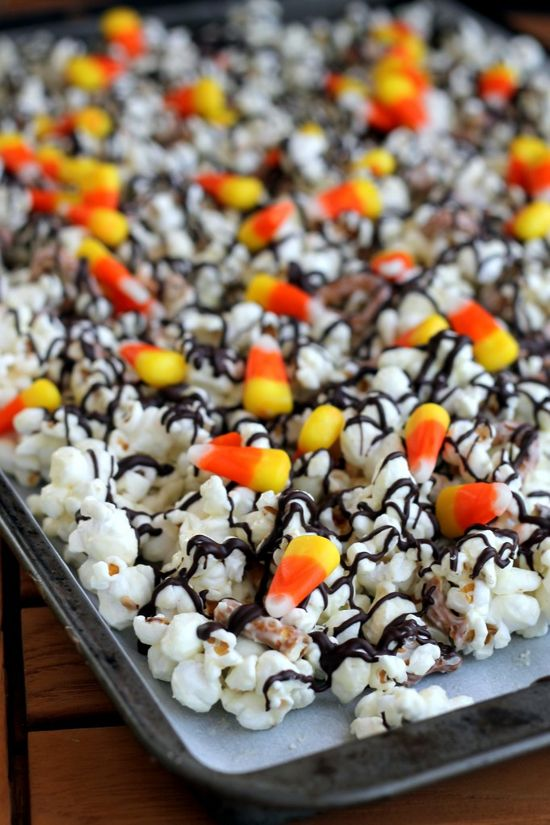 White Chocolate Candy Corn Popcorn (perfect for Halloween!)