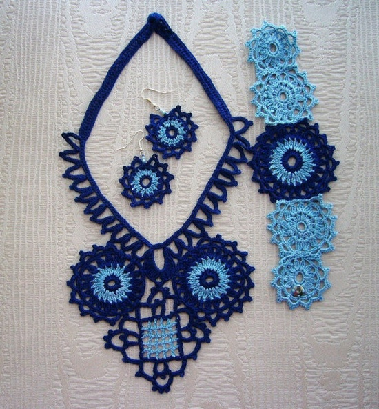 Hand Crochet Navy Blue Cotton Necklace Earrings by CraftsbySigita, $35.00