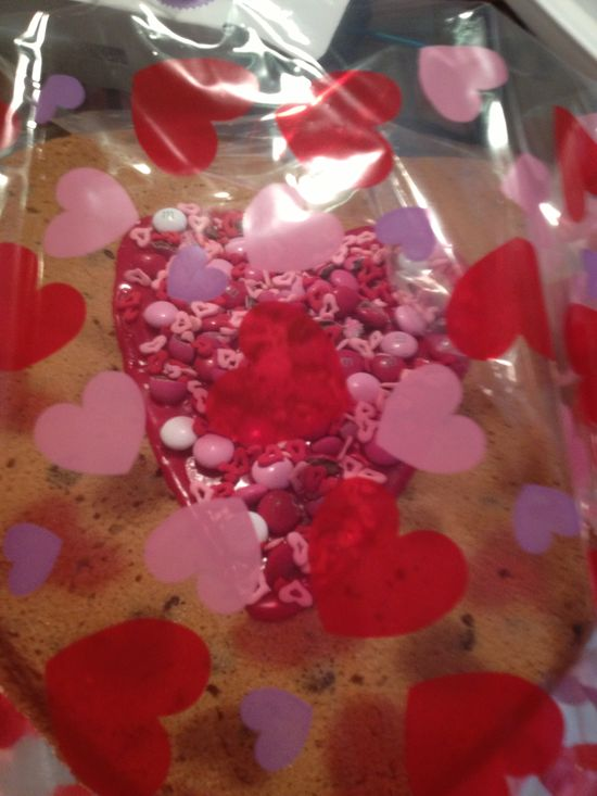 Valentine heart cookie ready for delivery.