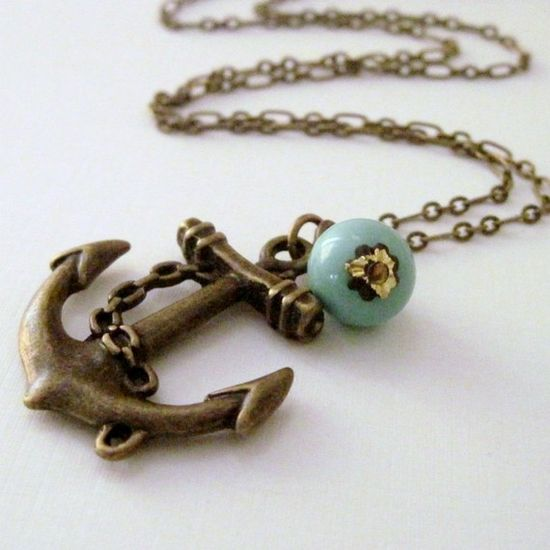 $24 anchor necklace with vintage turquoise bead #jewelry #vintage