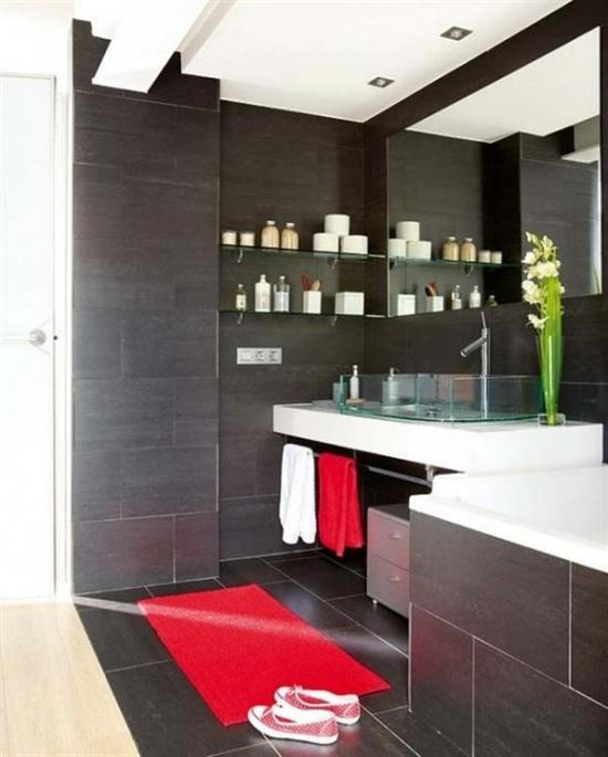 modern black-red bathroom interior design and color scheme