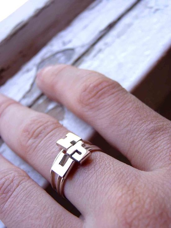 THREE Initials Rings  Sterling silver  Made to order  by aforfebre