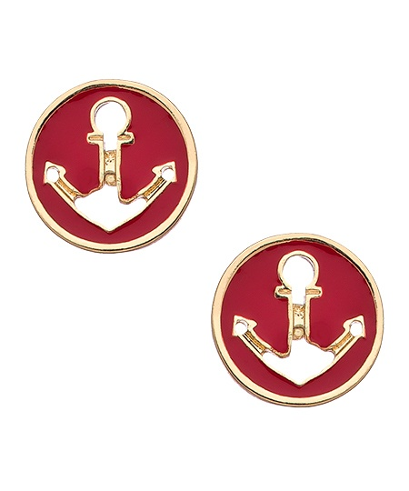 Blu Bijoux Red Nautical Round Stud Earrings