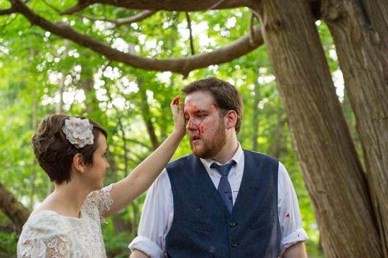 Zombies. Unique wedding photo shoot