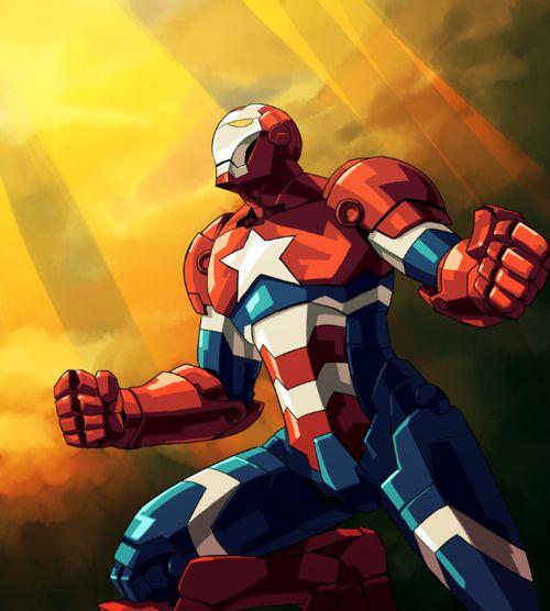 Iron Patriot Cartoon Art