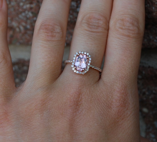 1.37ct emerald cut Peach sapphire Champagne sapphire ring diamond ring 14k rose gold Engagement ring.
