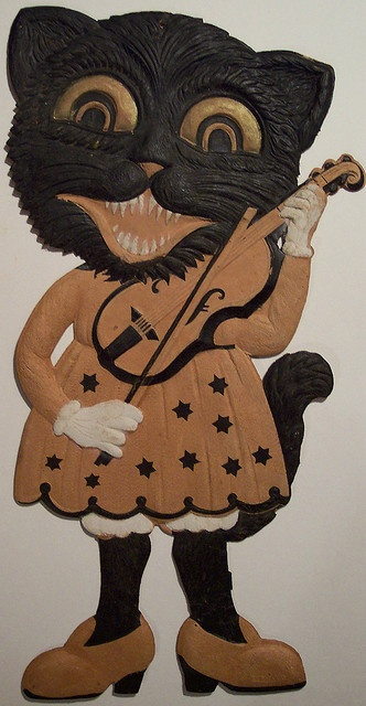 Vintage Halloween German Diecut Cat Lady with Violin