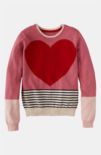 Let her wear her heart: Johnnie b 'Fun' Sweater (Big Girls) #Nordstrom #Valentine