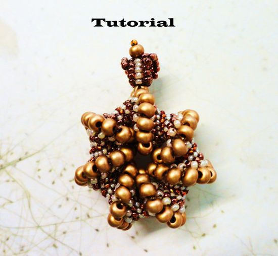 *P PDF for beadweaving pendant beading tutorial - beadwoven Cellini spiral beading pattern beaded seed bead jewelry - ROYAL CROWN