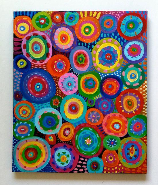 tushtush - Big Abstract Painting circles / Original canvas painting