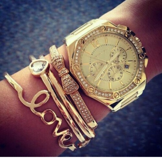 Arm candy- stackable bracelets and watch