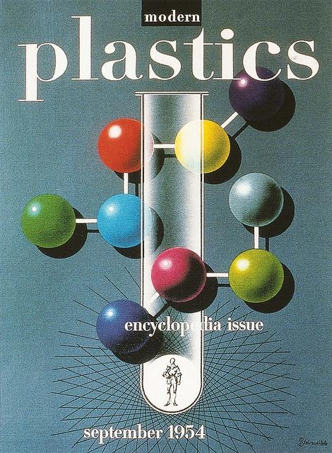 :: Modern Plastics magazine - Sept. 1954. Magazine cover artwork created by Alex Steinweiss ::