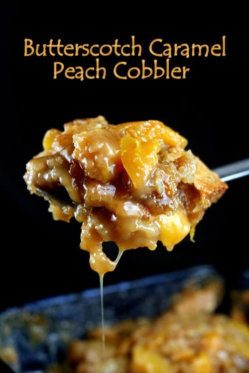Butterscotch Caramel Peach Cobbler - 4th of July favorite!