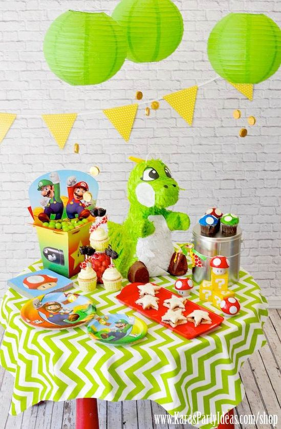 Super Mario Bros Themed Birthday Party via Kara's Party Ideas - www.KarasPartyIde... #super #mario #party #ideas #idea #decor