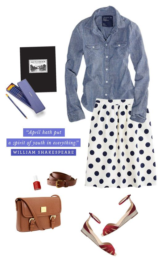 chambray and polka dots cuteness