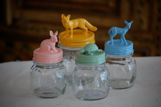 Rose Pink Bunny, Mint Turtle, Robins Egg Blue Fawn. Little Forest Creature Jars