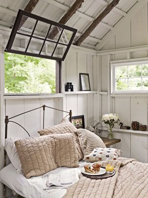 cottage bedroom. love the windows