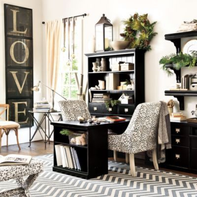Katherine Home Office... What a classy looking office!  Love the LOVE.