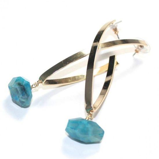 Gold Steel Raindrops Earrings