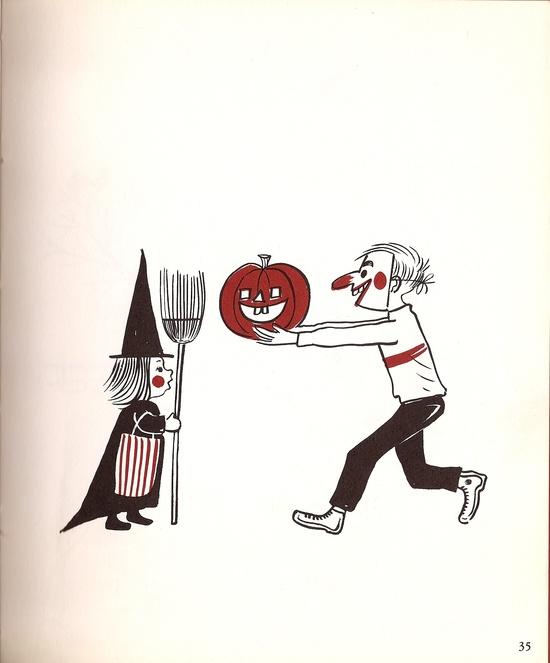 Happy Halloween everyone! Illustration from vintage Halloween book.