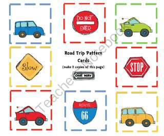 Printables: Cars and Signs Pattern Cards