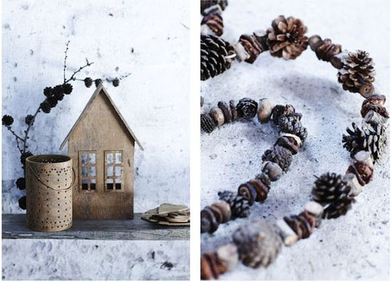 DIY decor: put pine cones on wire and shape into anything (for me, this means hearts)