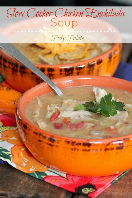 One of our favorites! Slow Cooker Chicken Enchilada Soup by Picky Palate
