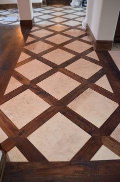 Basketweave Tile And Wood Floor Design
