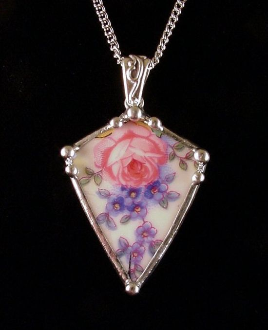 Broken china jewelry rose and forget me not necklace by Laura Beth Love Dishfunctional Designs