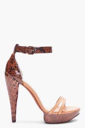 LANVIN Brown Python Skin Heels